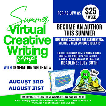 SUMMER VIRTUAL CREATIVE WRITING CAMP AUG