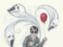 Illustration of haunted child holding red balloon