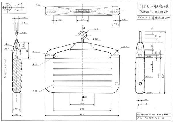 Dimensioned technical drawing