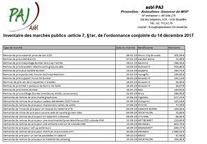 Inventaire des marches publics - PAJ asb
