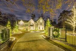Christmas Lighting and Large Gate Wreath