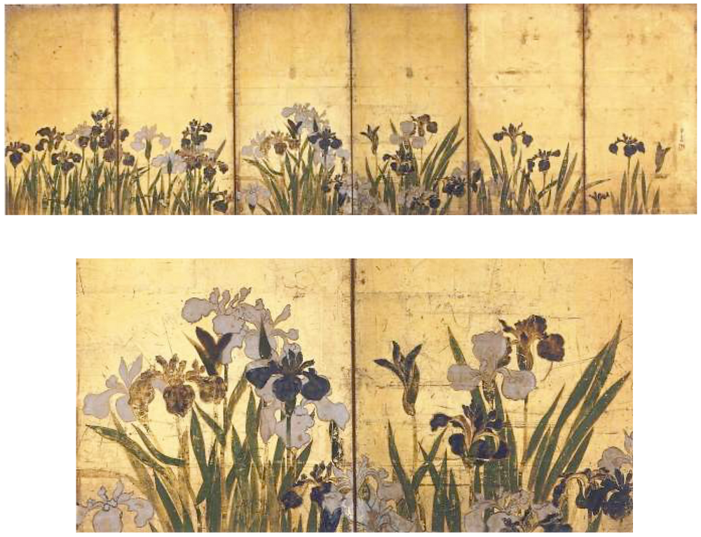Irisies. Ogata Korin. Six-folded screen on gold ground on paper. 18th century Irisies – detail (lower image)