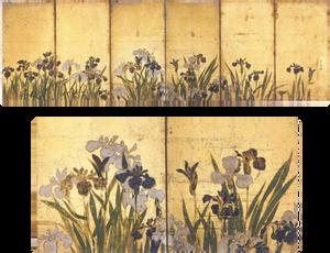 Irisies. Ogata Korin. Six-folded screen on gold ground on paper. 18th century Irisies – detail (lower image)