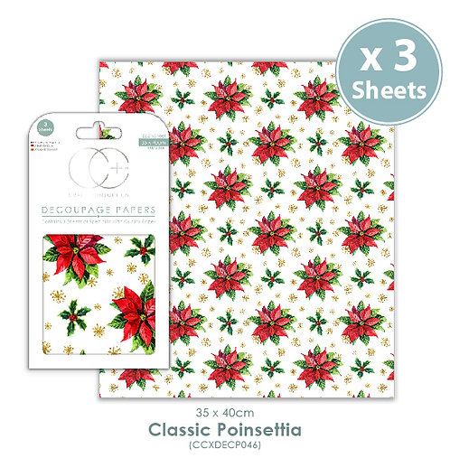 Classic Poinsettia - Decoupage Papers