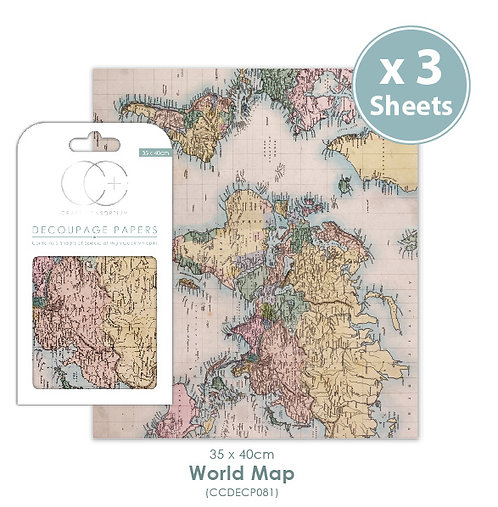 World Map - Decoupage Papers Set