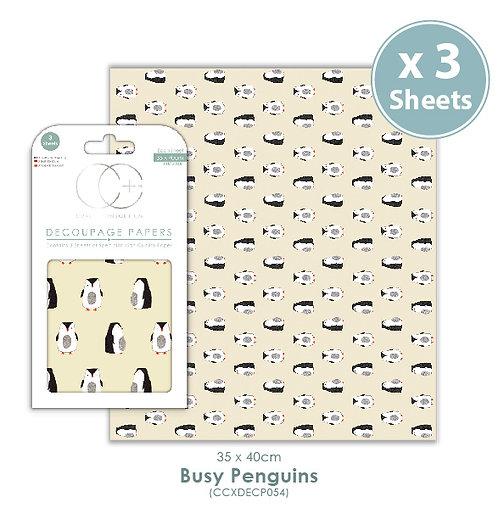 Busy Penguins - Decoupage Paper Set