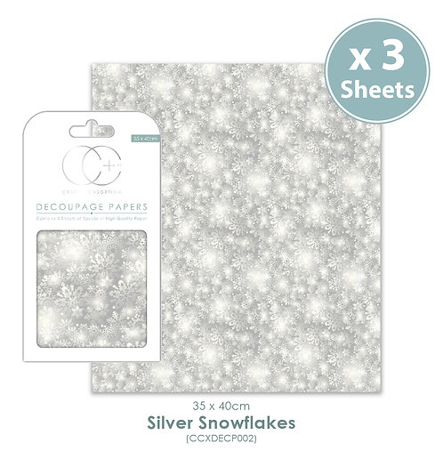 Silver Snowflake - Decoupage Papers Set