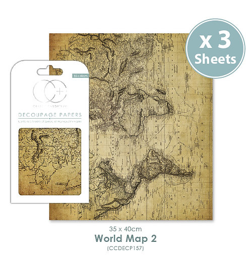 World Map 2 - Decoupage Papers Set