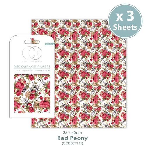 Red Peony - Decoupage Papers Set