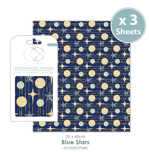 Blue Stars - Decoupage Papers Set