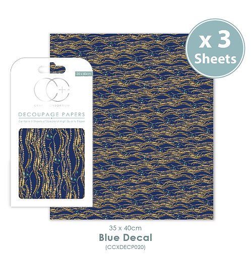 Blue Decal - Decoupage Papers Set
