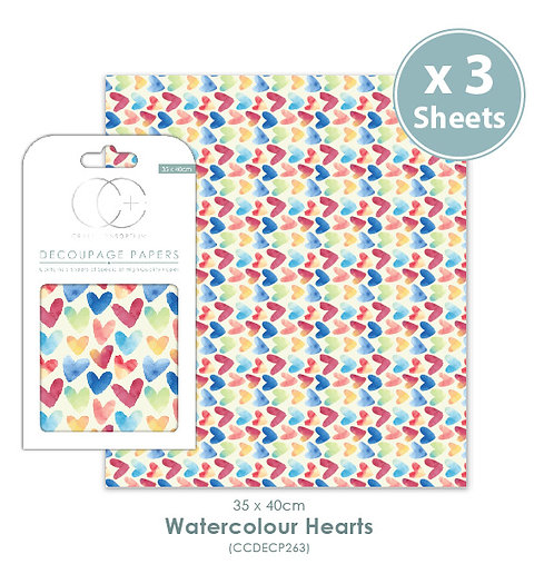 Watercolour Hearts - Decoupage Papers Set