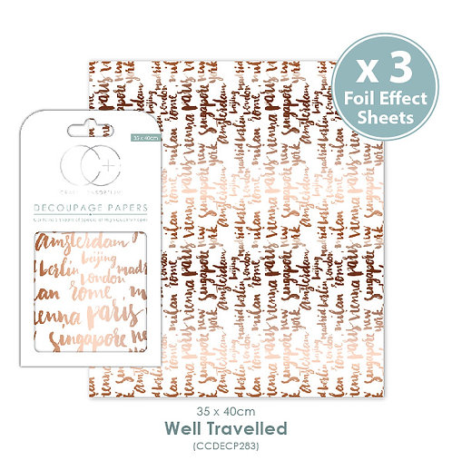 Well Travelled - Metallic Decoupage Papers Set