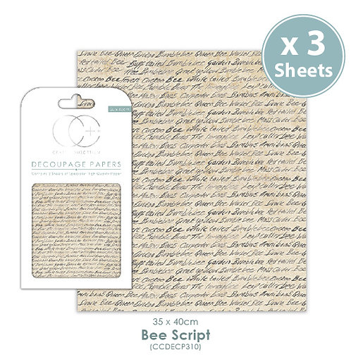 Bee Script - Decoupage Papers Set