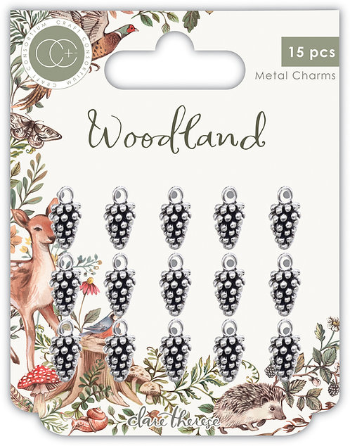 Woodland - Metal Charms - Silver Pine Combs