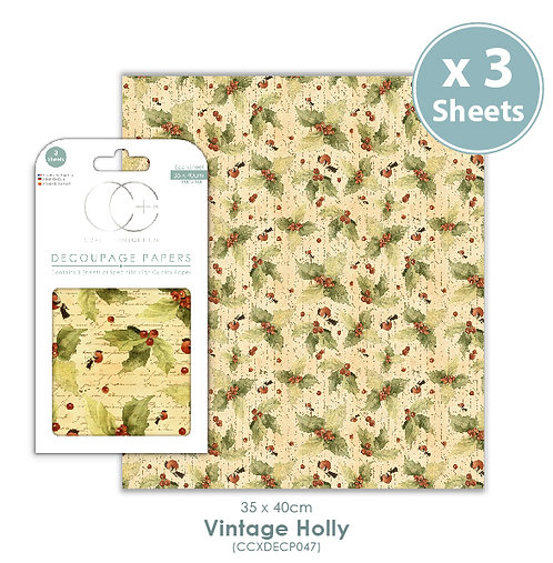Vintage Holly - Decoupage Papers