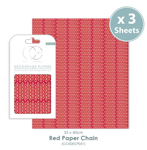 Red Paper Chain - Decoupage Papers Set