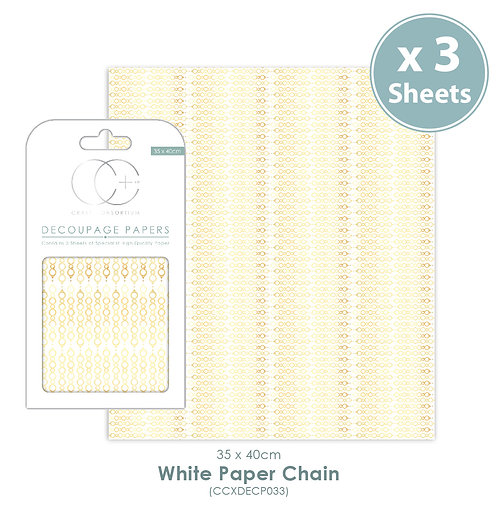 White Paper Chain - Decoupage Papers Set