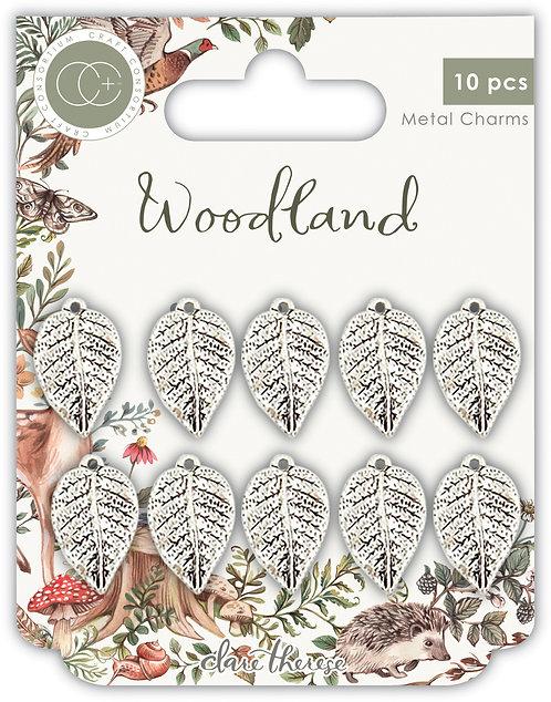 Woodland - Metal Charms - Silver Leaf