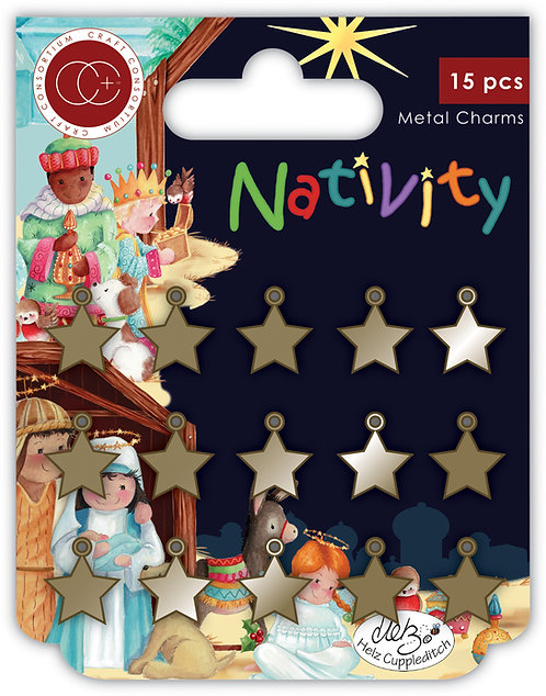 Nativity - Metal Star Charms