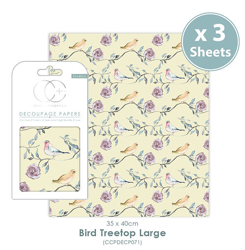 Bird Treetop Large - Decoupage Paper Set