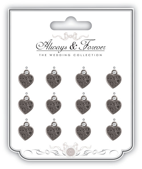 Always & Forever - Silver Heart Charms - Thank you