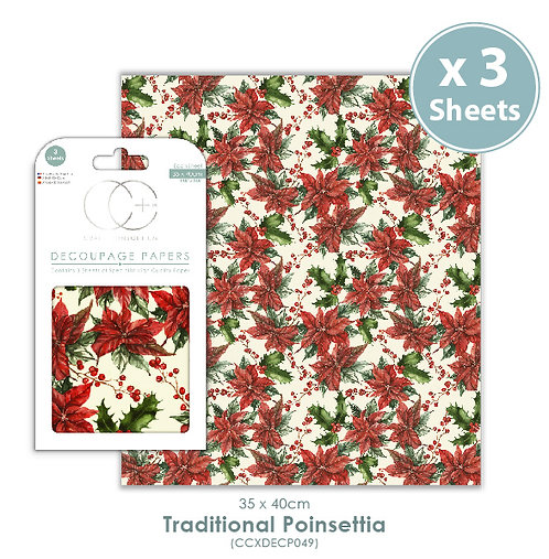 Traditional Poinsettia - Decoupage Papers