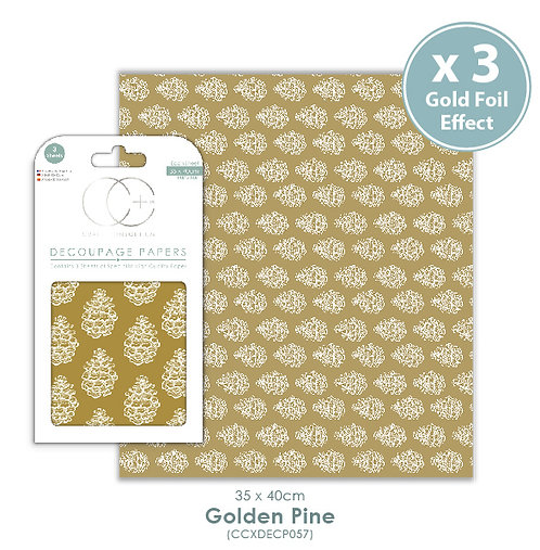 Golden Pine - Gold Metallic - Decoupage Paper Set