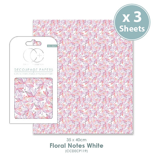 Floral Notes White - Decoupage Papers Set