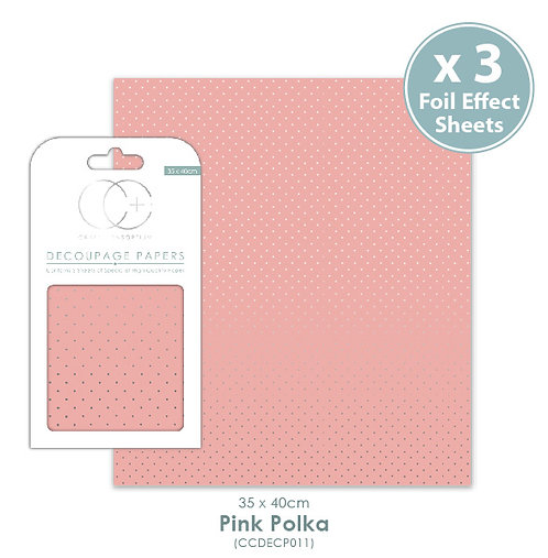 Pink Polka - Metallic Decoupage Paper Set