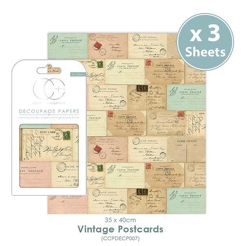 Vintage Postcards - Decoupage Paper Set