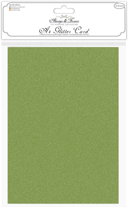 Always & Forever - Non Shedding A4 Glitter Card - Moss Green