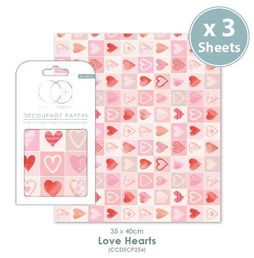 Love Hearts - Decoupage Papers Set
