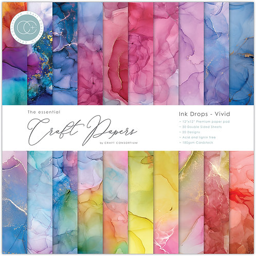 The Essential Craft Papers  - Ink Drops - Vivid
