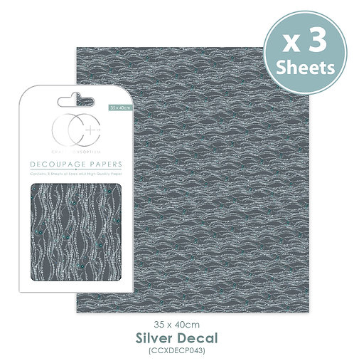 Silver Decal - Decoupage Papers Set