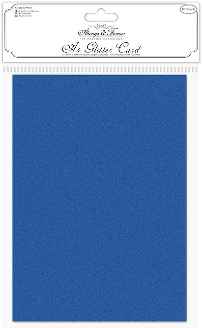 Always & Forever - Non Shedding A4 Glitter Card - Cobalt Blue
