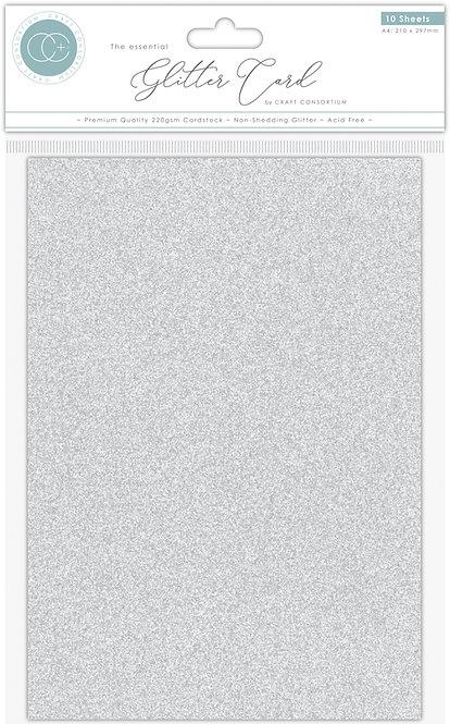 The Essential Glitter Card - Non Shedding A4 Glitter Card - Silver