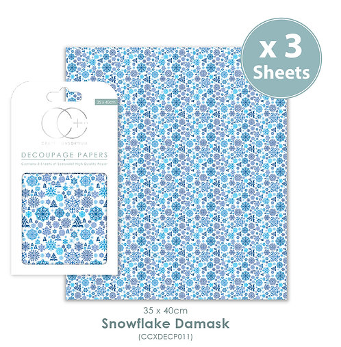 Snowflake Damask - Decoupage Papers Set