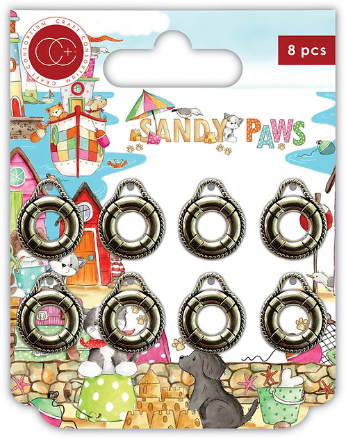 Sandy Paws - Silver - Life Ring - Metal Charms