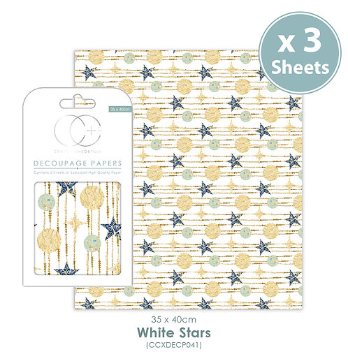 White Stars - Decoupage Papers Set
