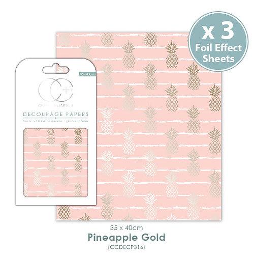 Pineapple Gold - Metallic Decoupage Papers Set