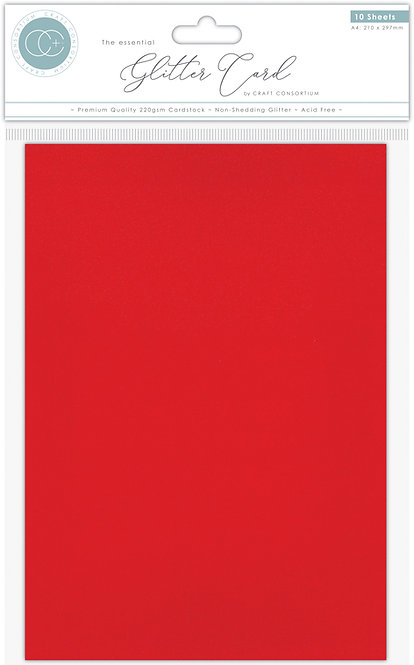 The Essential Glitter Card - Non Shedding A4 Glitter Card - Red