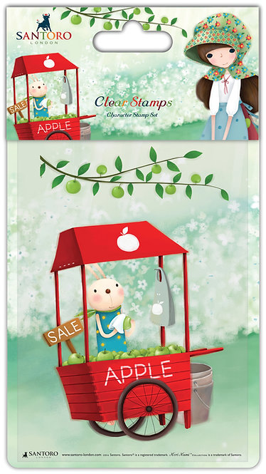 Santoro - Kori Kumi Clear Stamp Set - An Apple A Day - Cart