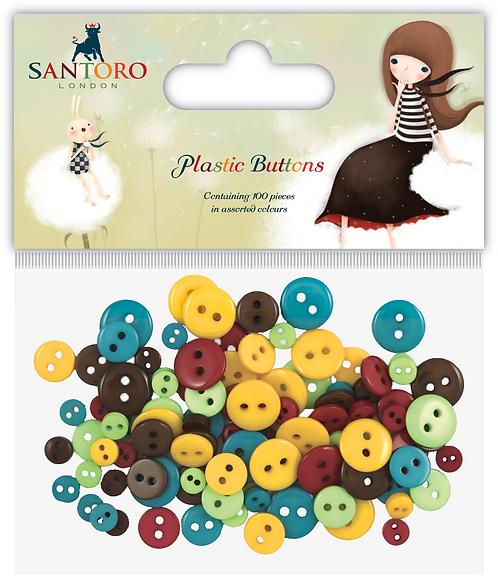 Santoro - Kori Kumi Plastic Buttons - Neutrals