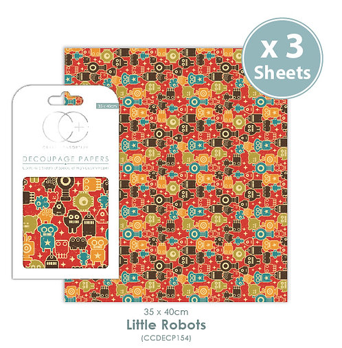 Little Robots - Decoupage Papers Set