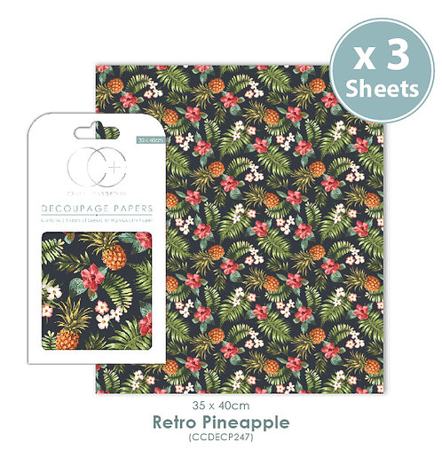Retro Pineapple - Decoupage Papers Set