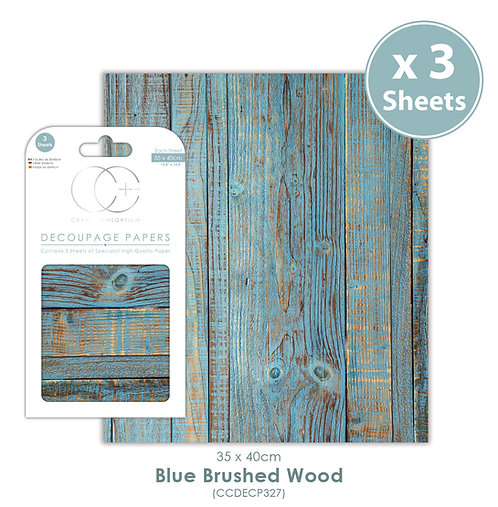 Blue Brushed Wood - Decoupage Paper Set