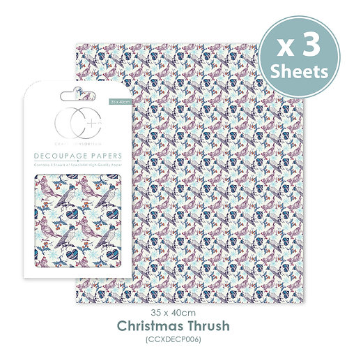 Christmas Thrush - Decoupage Papers Set