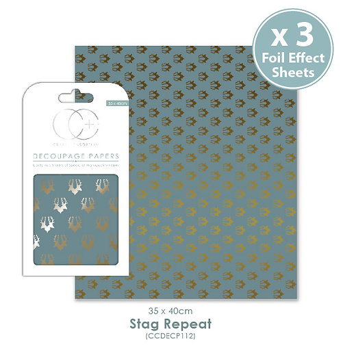 Stag Repeat - Metallic Decoupage Papers Set