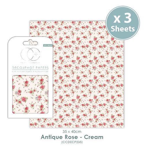 Antique Rose - Cream - Decoupage Papers Set